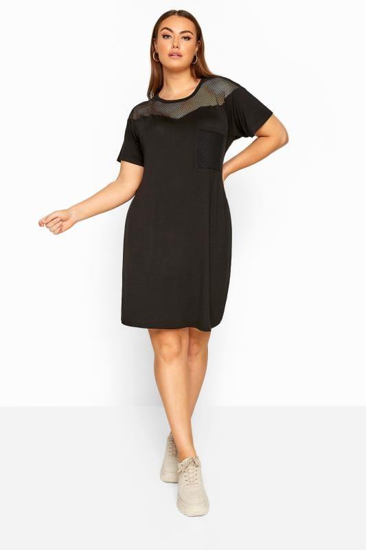LIMITED COLLECTION Black Fishnet Insert T-Shirt Dress