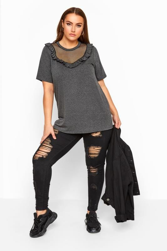 LIMITED COLLECTION Charcoal Grey Fishnet Insert Frill Top