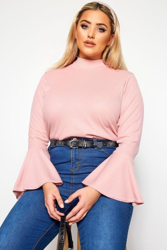 Plus Size Day Tops LIMITED COLLECTION Light Pink Ribbed Flute Sleeve Top