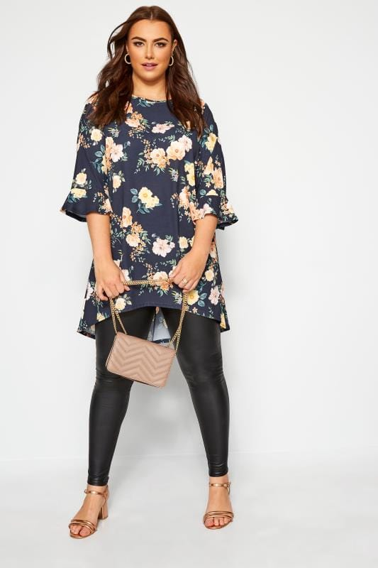 Plus Size Tunics YOURS LONDON Navy Floral Flute Sleeve Tunic