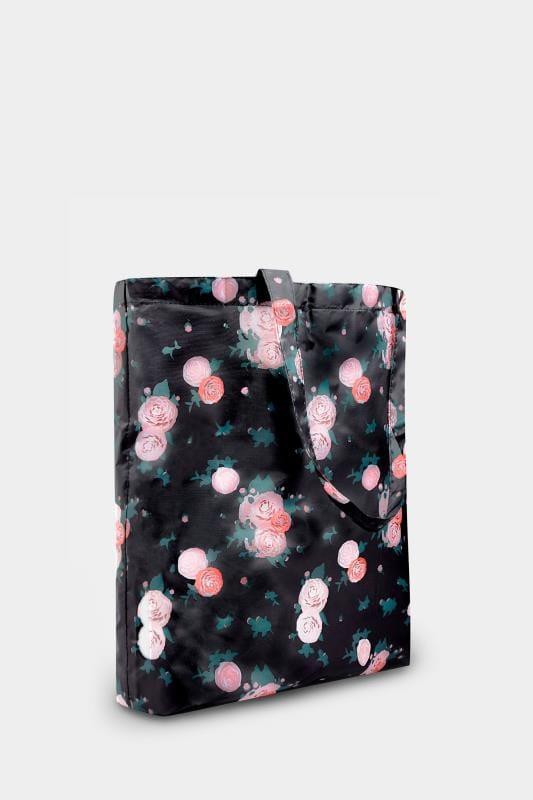 Black Floral Fold Up Shopper Bag