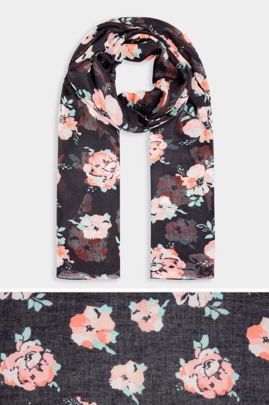 Black & Pink Floral Scarf