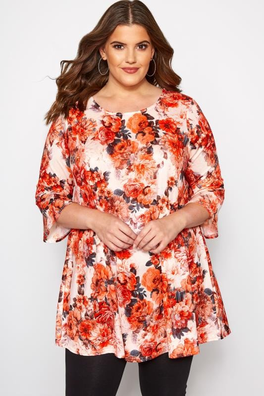 Plus Size Smart Jersey Tops White & Coral Floral Jersey Top