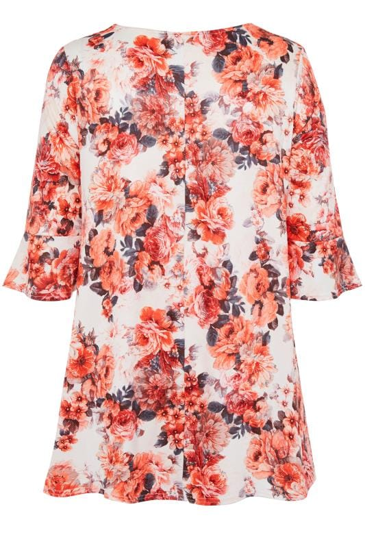 White & Coral Floral Jersey Top