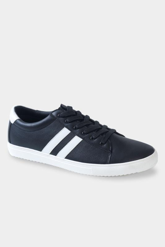 Footwear D555 Black Stripe Lace Up Trainers 202058