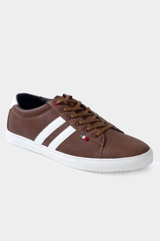 Footwear D555 Brown Stripe Lace Up Trainers 202059