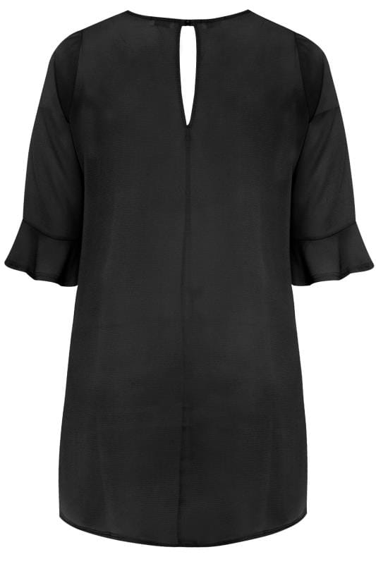 YOURS LONDON Black Flute Sleeve Tunic