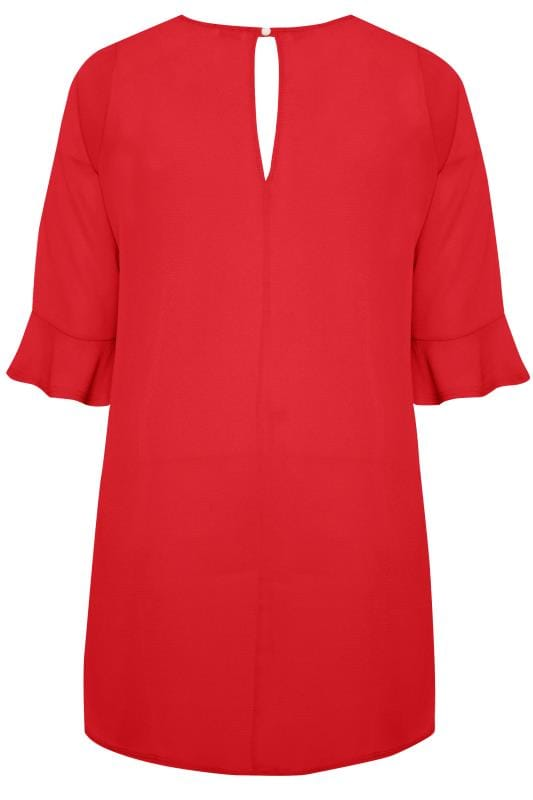 YOURS LONDON Red Flute Sleeve Tunic