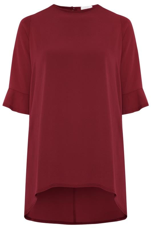 YOURS LONDON Wine Red Flute Sleeve Tunic