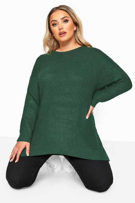Plus Size Jumpers Forest Green Chunky Knitted Jumper