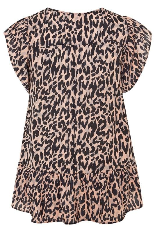 Pink & Black Animal Print Frill Chiffon Blouse
