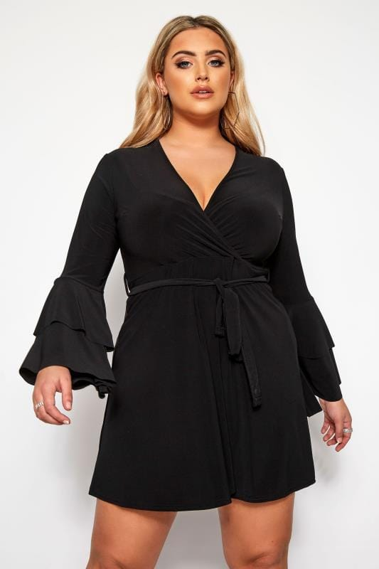 Plus Size Going Out Dresses LIMITED COLLECTION Black Frill Sleeve Wrap Dress