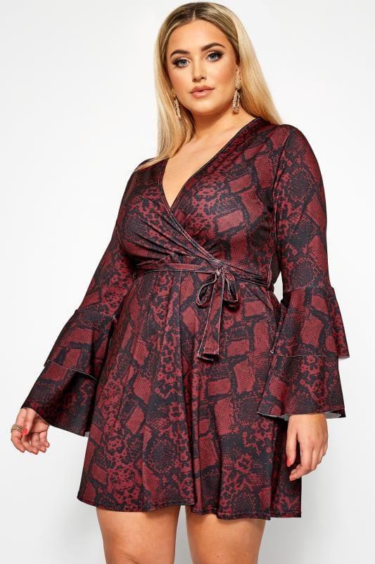 Große Größen Partykleider LIMITED COLLECTION Wickelkleid mit Schlangen-Muster - Rot
