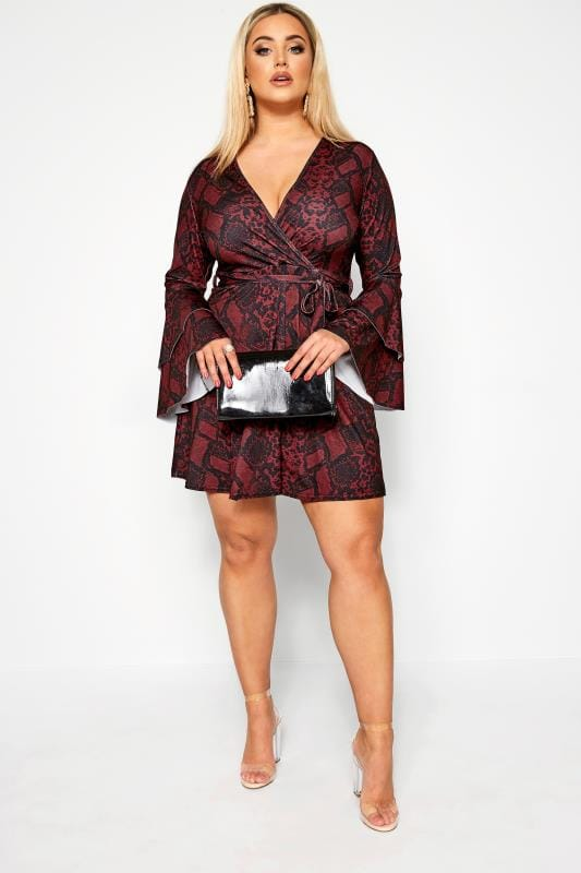LIMITED COLLECTION Red Snake Print Frill Sleeve Wrap Dress