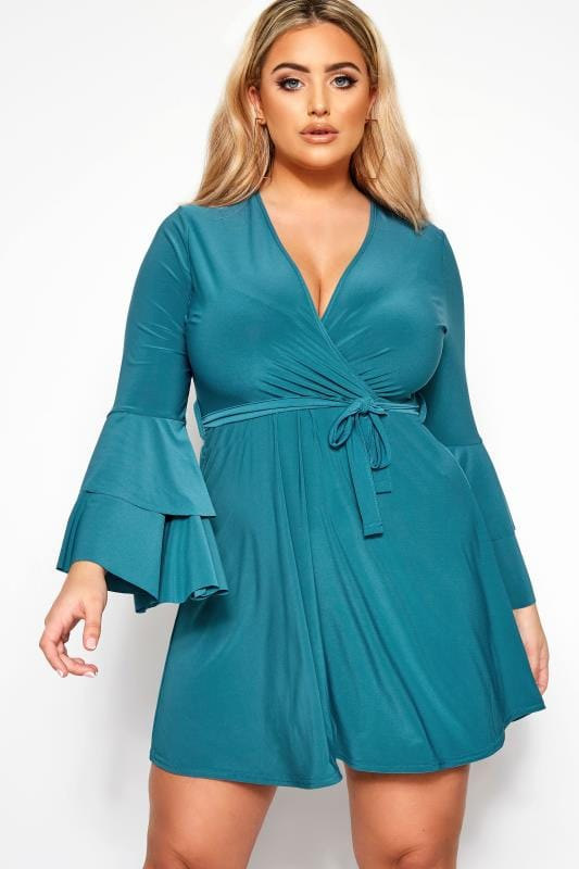 Plus Size Evening Dresses LIMITED COLLECTION Teal Blue Frill Sleeve Wrap Dress