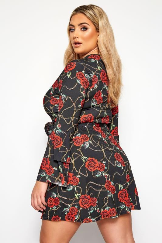 LIMITED COLLECTION Black Floral Chain Wrap Frill Sleeve Dress