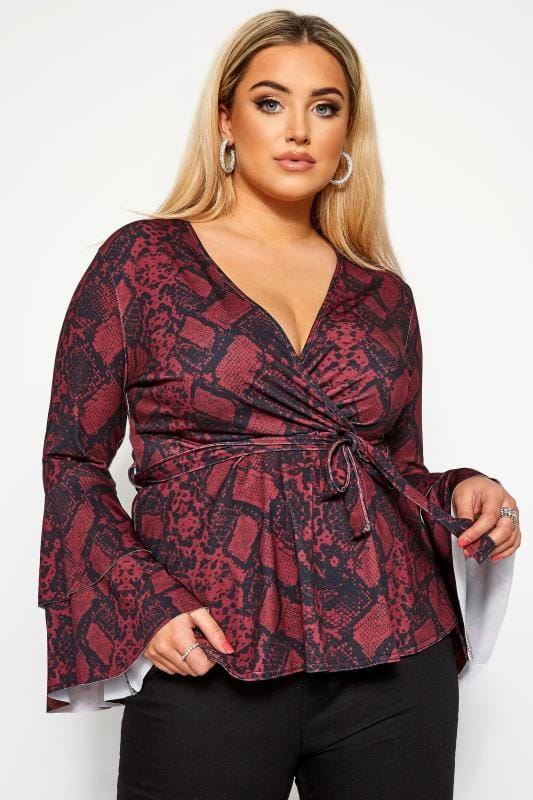 Plus Size Plunge Tops LIMITED COLLECTION Red Snake Print Frill Sleeve Wrap Top