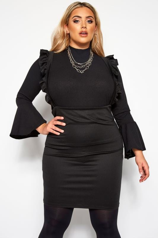 Plus Size Pinafore Dresses LIMITED COLLECTION Black Ruffle Pinafore Dress