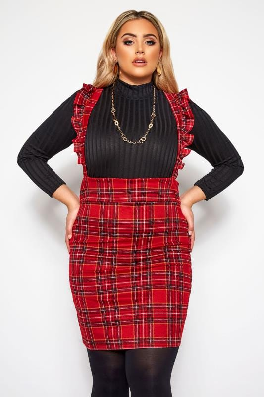 Plus Size Pinafore Dresses LIMITED COLLECTION Red Check Ruffle Pinafore Dress