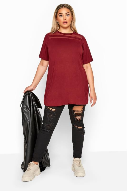 LIMITED COLLECTION Wine Red Mesh Insert Top