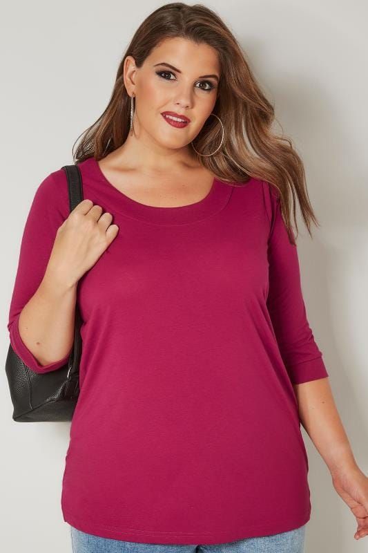Plus Size Jersey Tops Fuchsia Pink Seamed Scoop Neck Top