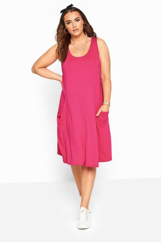 Plus Size Casual / Every Day Fuchsia Pink Sleeveless Drape Pocket Dress
