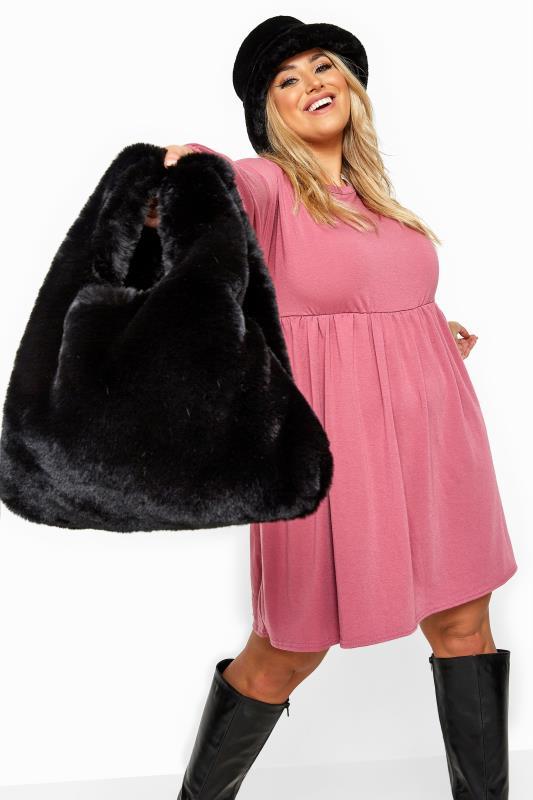 Shoulder Bags Black Faux Vegan Fur Bag