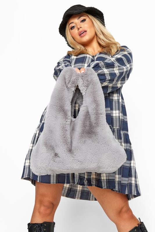 Shoulder Bags Grey Faux Vegan Fur Bag