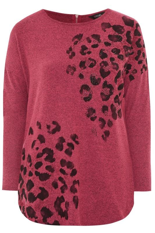 Fuschia Pink Stud Animal Print Knitted Top