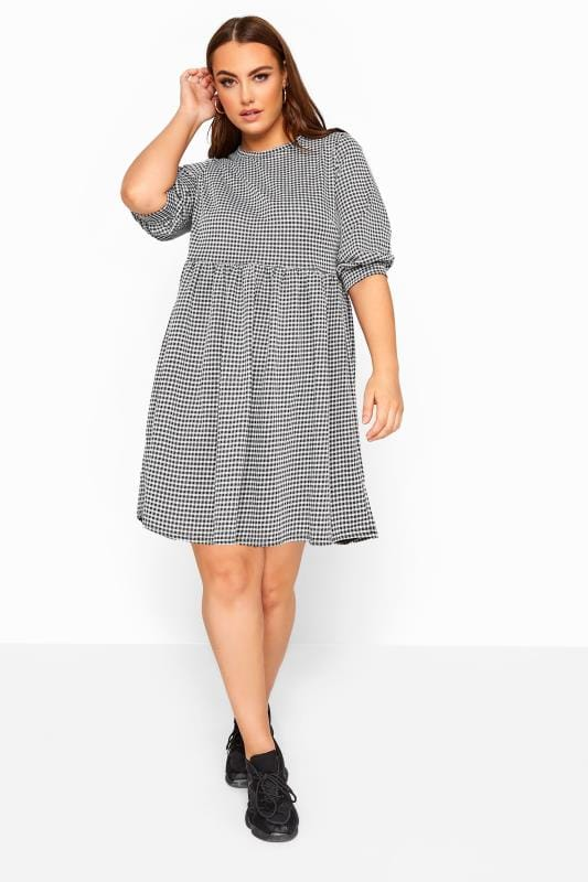 Plus Size Sleeved Dresses LIMITED COLLECTION Black Gingham Check Smock Dress