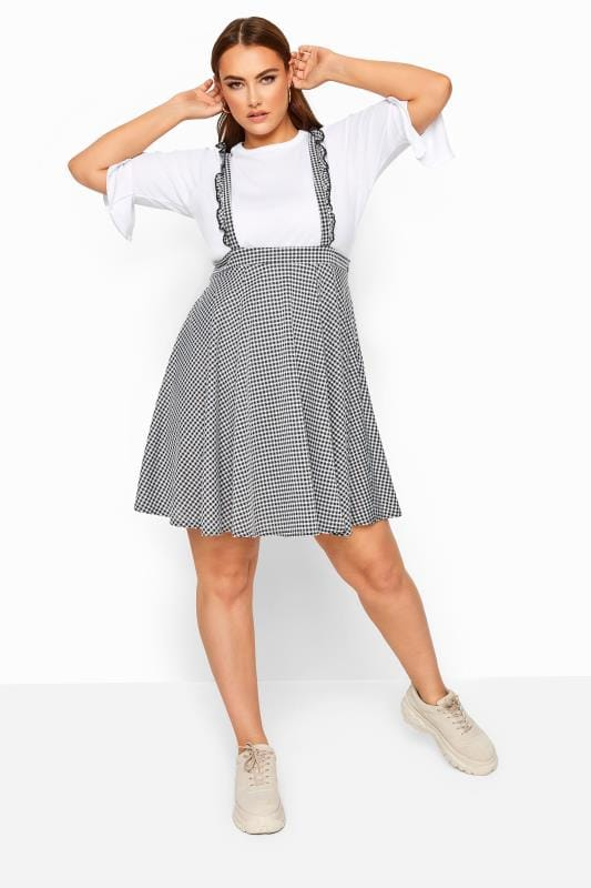 Plus Size Skater Skirts LIMITED COLLECTION Black & White Gingham Pinafore Skirt