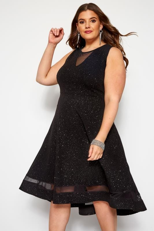 Black Glitter Dipped Hem Skater Dress