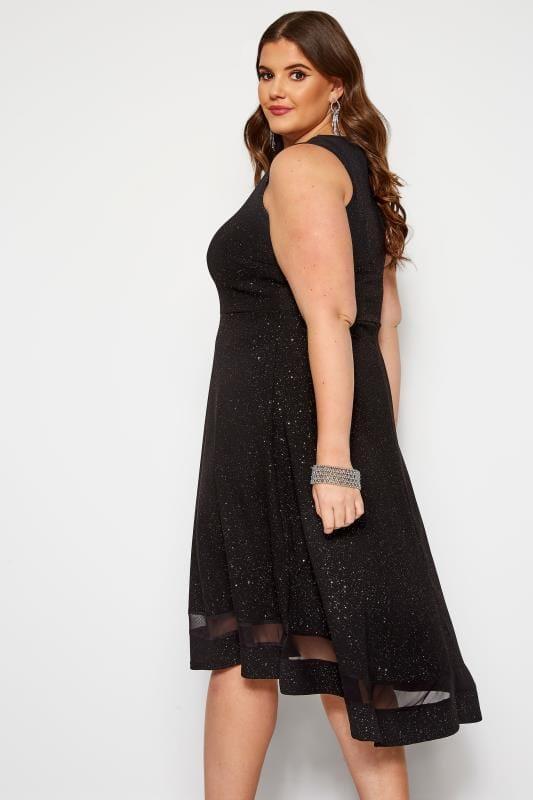 Robe Noire à Paillette Style Volanté | Grande taille 44 64