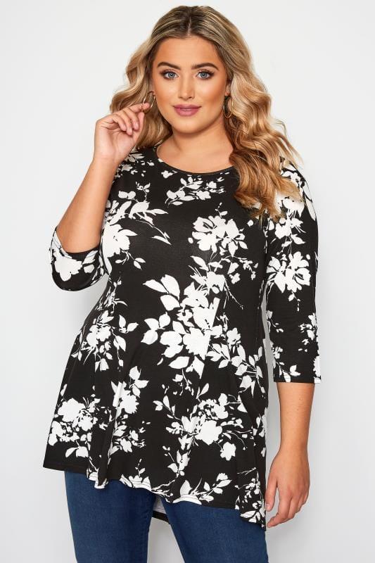 Plus Size Floral Tops Black & White Floral Peplum Top