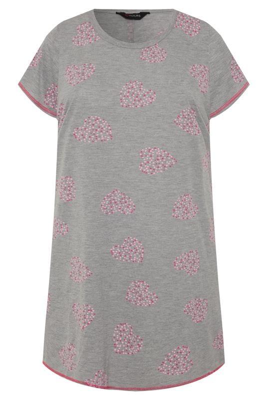 Grey Heart Print Dipped Hem Nightdress