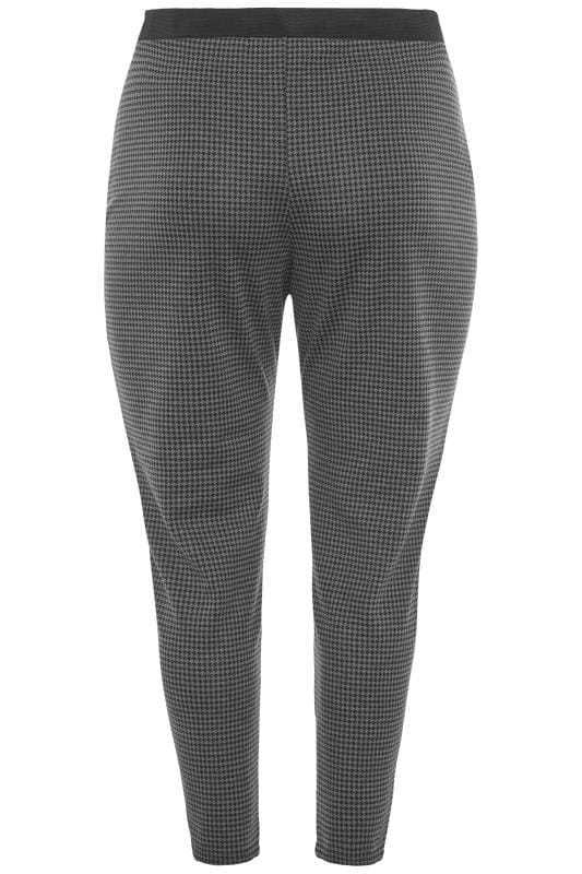 Grey Dogtooth Ponte Trousers