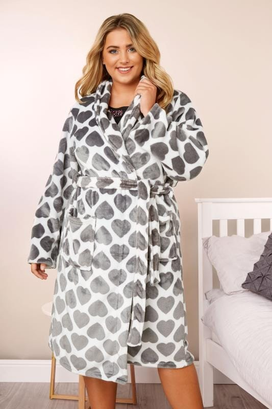Plus Size Robes Grey Heart Print Shawl Dressing Gown