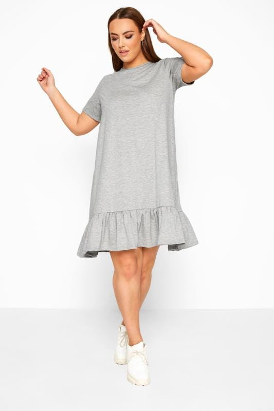 Plus Size Casual Dresses LIMITED COLLECTION Grey Marl Frill Hem Dress