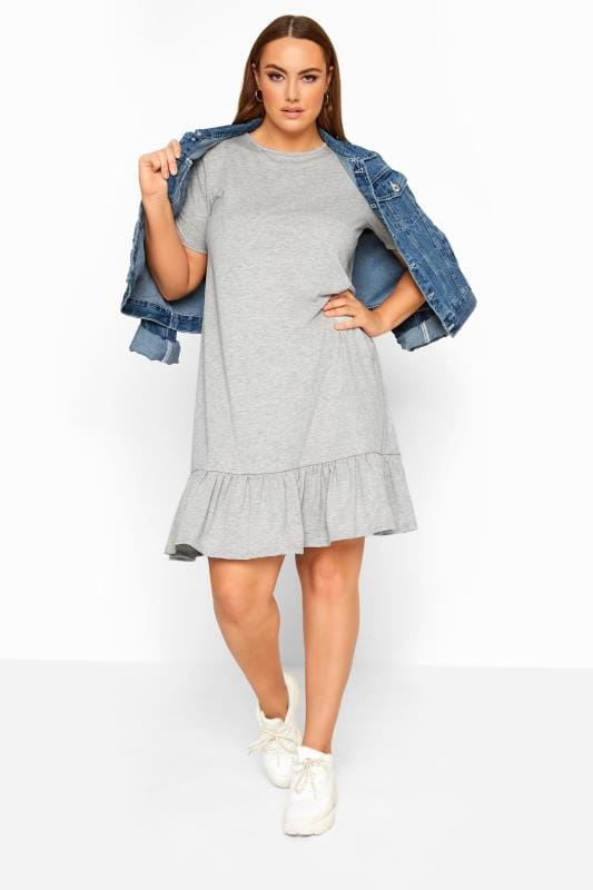 LIMITED COLLECTION Grey Marl Frill Hem Dress