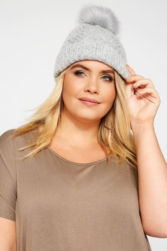 Plus Size Gifts Grey Knitted Bobble Hat