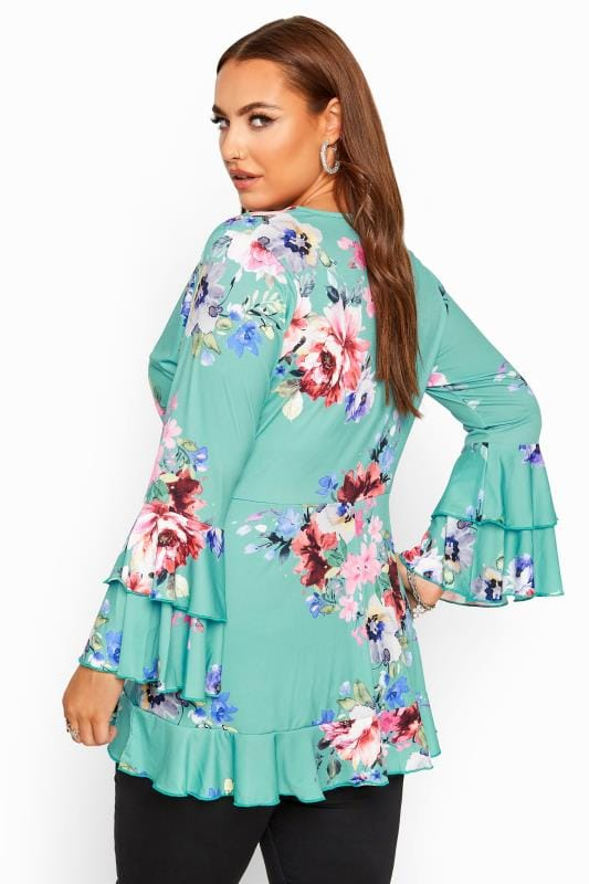 YOURS LONDON Turqoise Floral Wrap Top