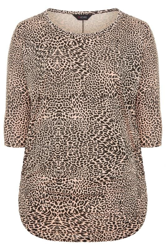 Plus Size Jersey Tops Pink Animal Print Ruched Side Top