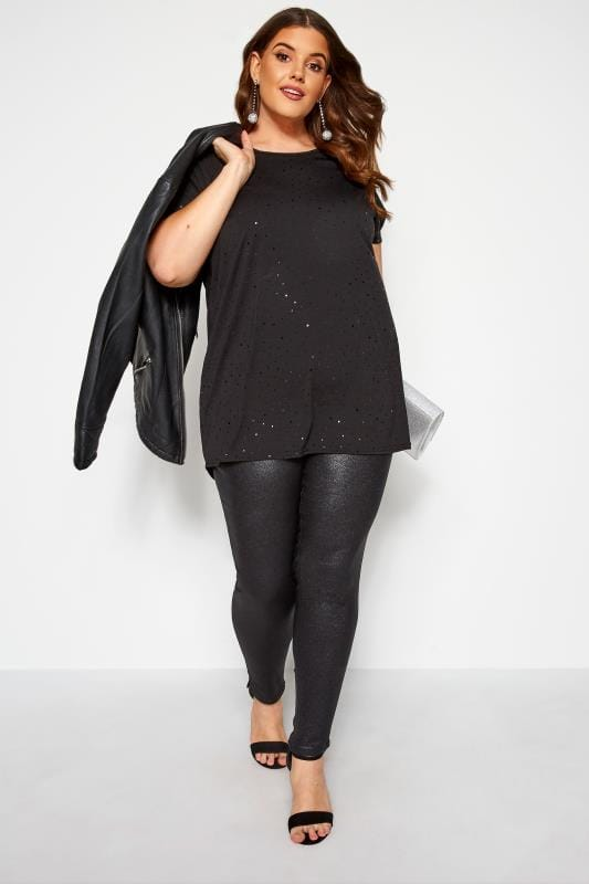 Black Spotted Sequin T-Shirt