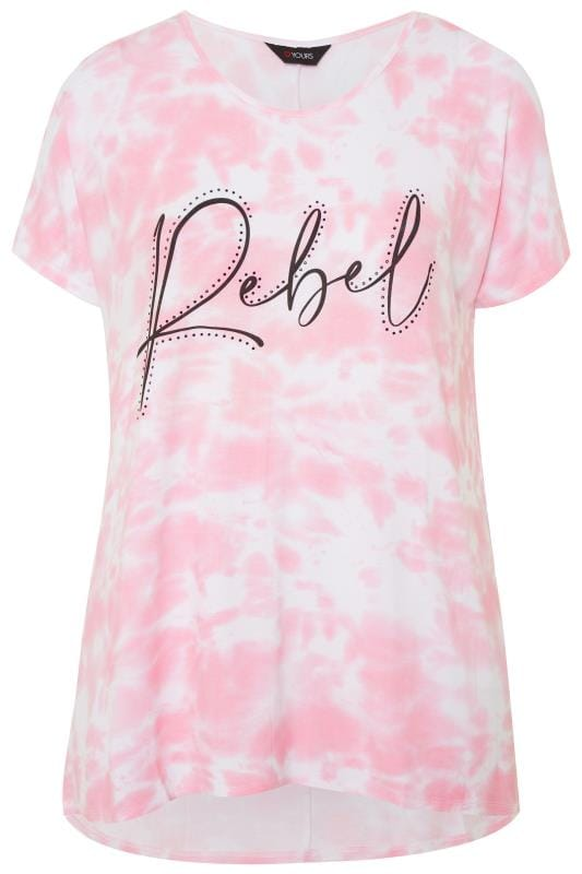 Pink 'Rebel' Slogan Tie Dye Dipped Hem Top