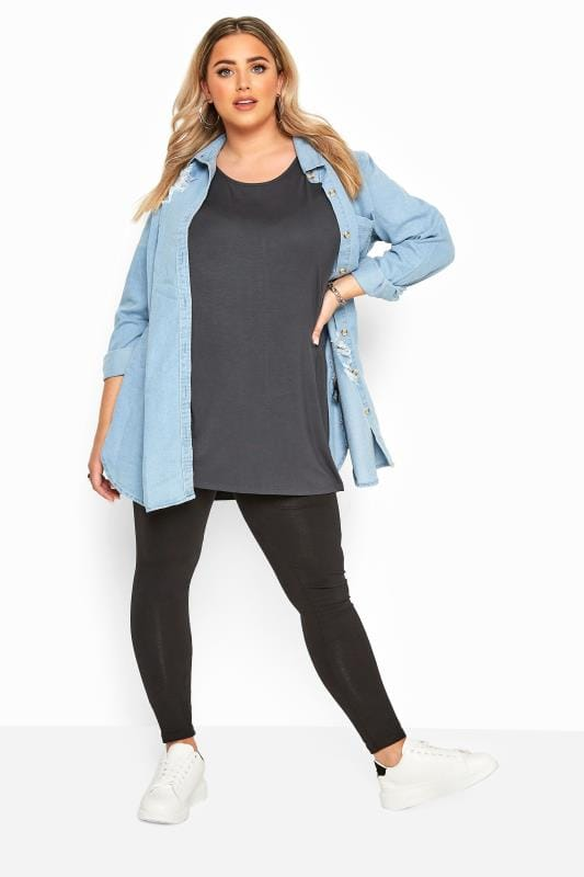 Charcoal Grey Dipped Hem Top