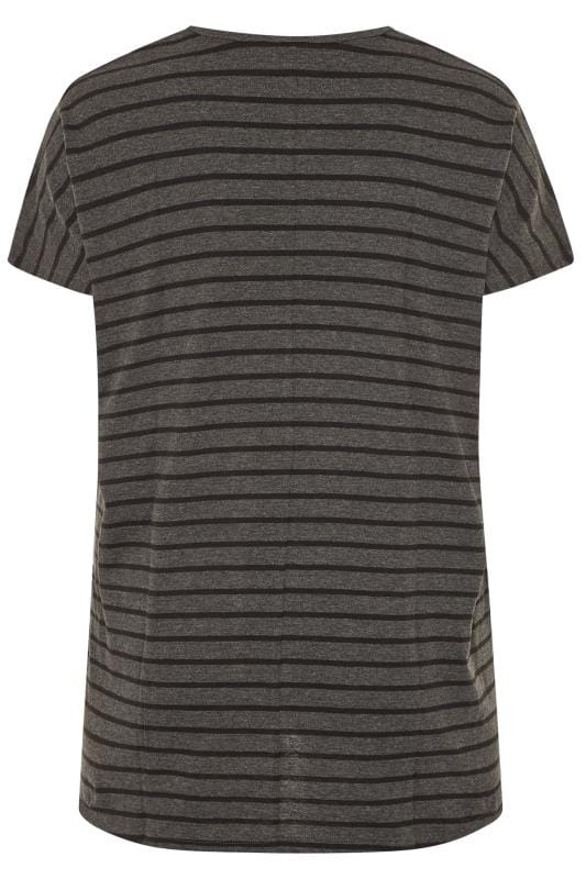 Grey Stripe Dipped Hem Top