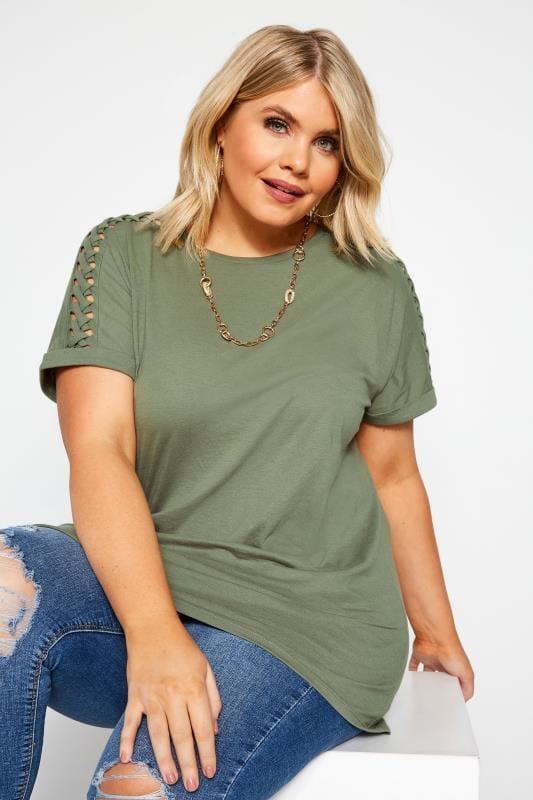 Plus Size Day Tops Khaki Green Laser Cut Lattice Top