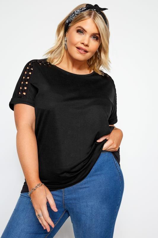 Plus Size Basic T-Shirts & Vests Black Laser Cut Lattice Top