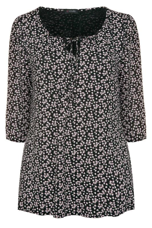 Plus Size Jersey Tops Black Ditsy Floral Gypsy Top