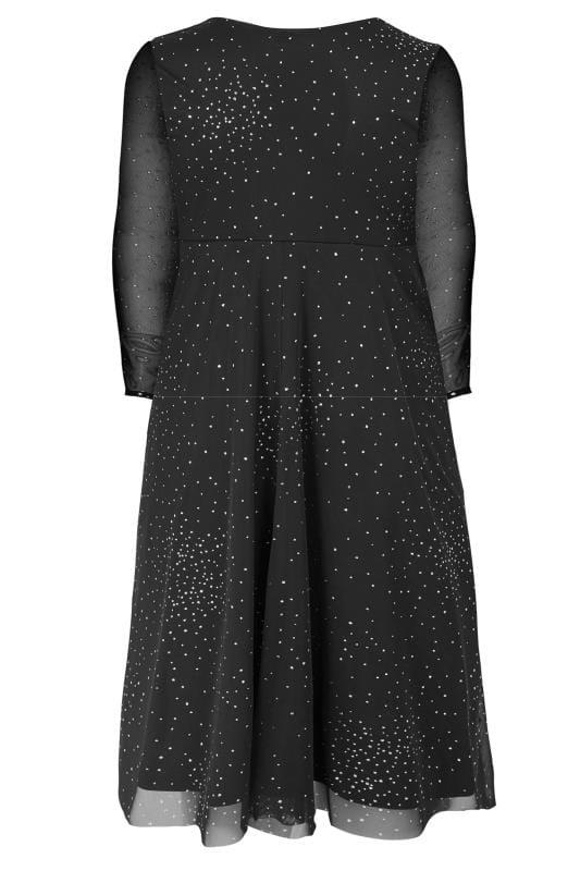YOURS LONDON Black Glitter Wrap Dress